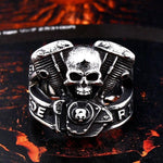 Biker Skull Ring Live to Ride