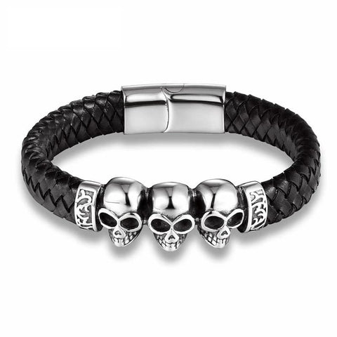 Metal Leather Skull Bracelet
