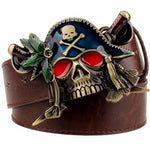 Pirate Skull Belt Buckle Brown