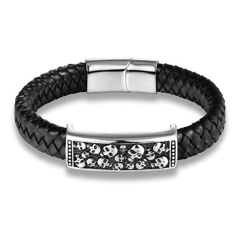 Skull Leather Wrap Bracelet