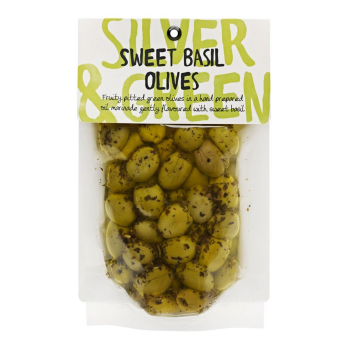 Sweet Basil Green Olives (Pitted) by Silver & Green