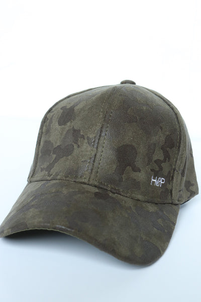 Camo Suede Leather Hat