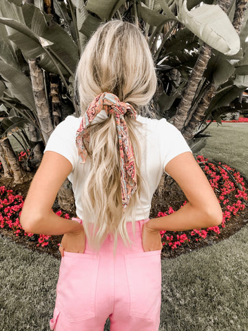 Sanoran Pink Sand Scrunchie Hair Scarf
