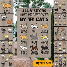 Load image into Gallery viewer, Custom Name All Visitor Must Be Approved Personalized Garden Flag For Cat Lovers