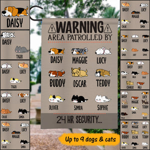Custom Name Warning Area Patrolled By Dog 24h Security Personalized Garden Flag For Dog Lover, For Cat Lover