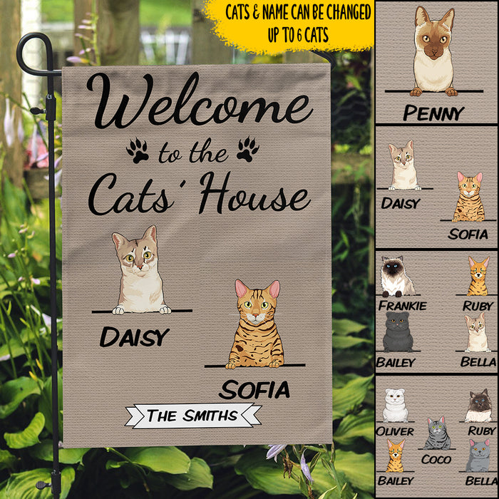 Custom Name Welcome To The Cats House Personalized Garden Flag