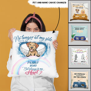 Custom No Longer At My Side Pet Memorial Personalized Indoor Pillow 18 x 18