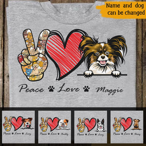 Custom Peace Love And Dogs Personalized For Dog Lovers