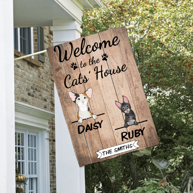 Custom Welcome To The Cats House Personalized Double Sided Flag
