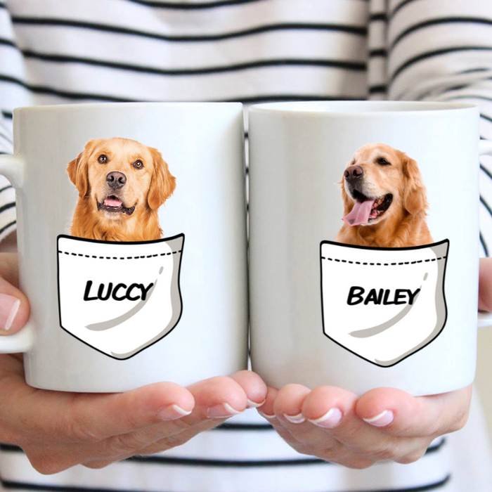 Custom Name Pocket Personalized Dog Photo Mug