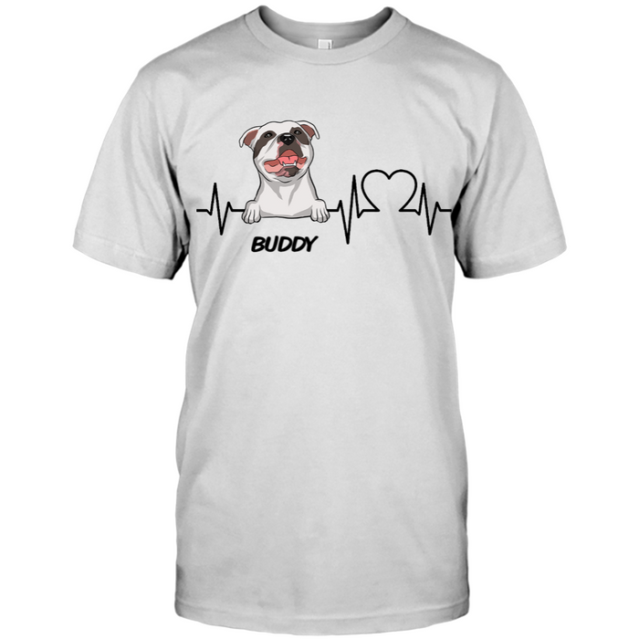 Custom Name Personalized Dog Heartbeat T-shirt