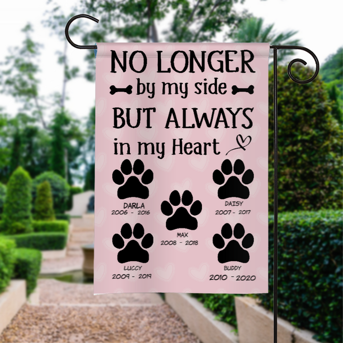 Custom No Longer By My Side Personalized Garden Flag For Dog Lover
