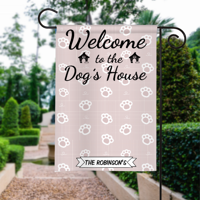 Custom Name Welcome To The Dogs House Personalized Garden Flag QH