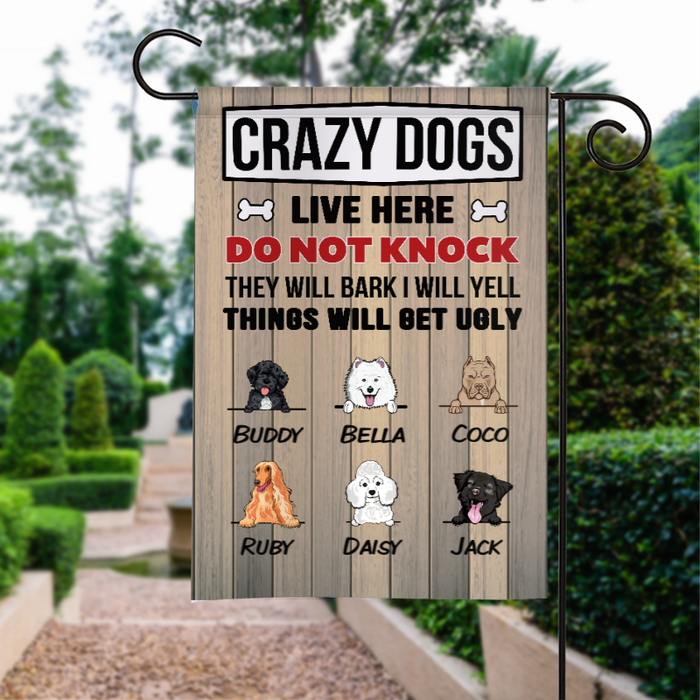 Custom Name Crazy Dogs Live Here Peeking Dog Personalized Garden Flag For Dog Lovers