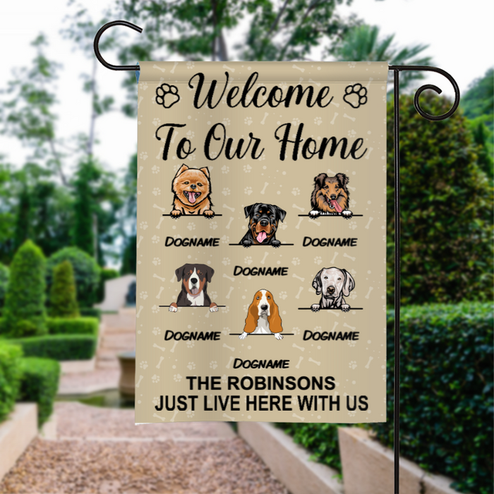 Custom Name Welcome To Our Home Personalized Dog Breed Family Name Garden Flag