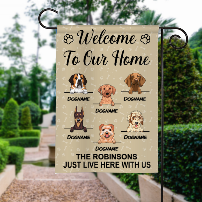 Custom Name Welcome To Our Home Personalized Dog Breed Family NameGarden Flag