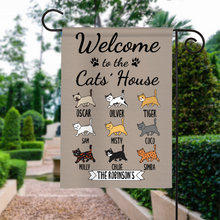 Load image into Gallery viewer, Custom Name Welcome To The Cat's House Personalized Garden Flag