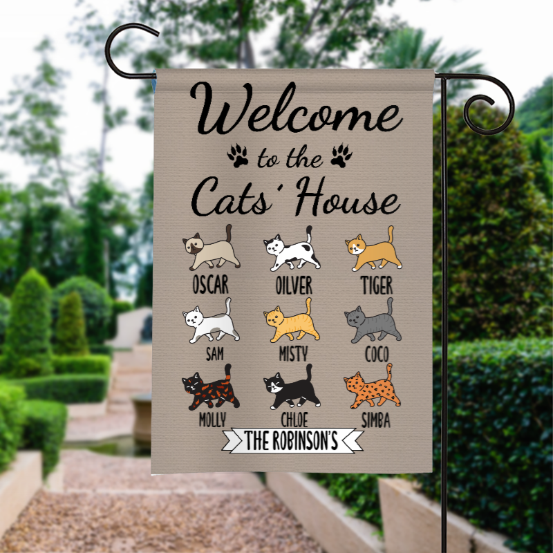 Custom Name Welcome To The Cat's House Personalized Garden Flag