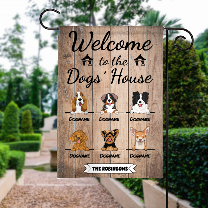 Custom Name Welcome To The Dogs House Personalized Dog Garden Flag