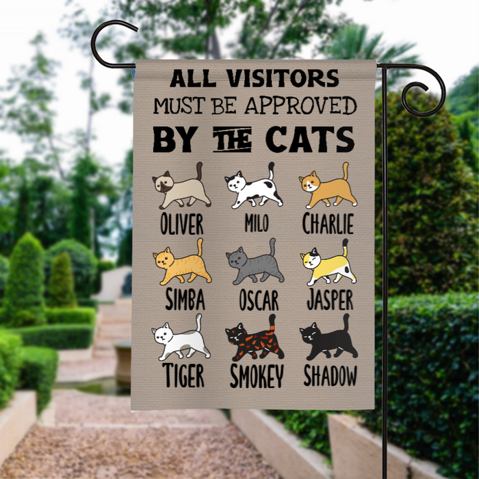 Custom Name All Visitor Must Be Approved Personalized Garden Flag For Cat Lovers