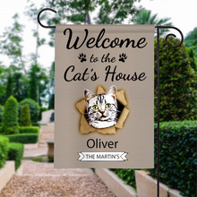 Load image into Gallery viewer, Custom Welcome To The Cats House Personalized Garden Flag