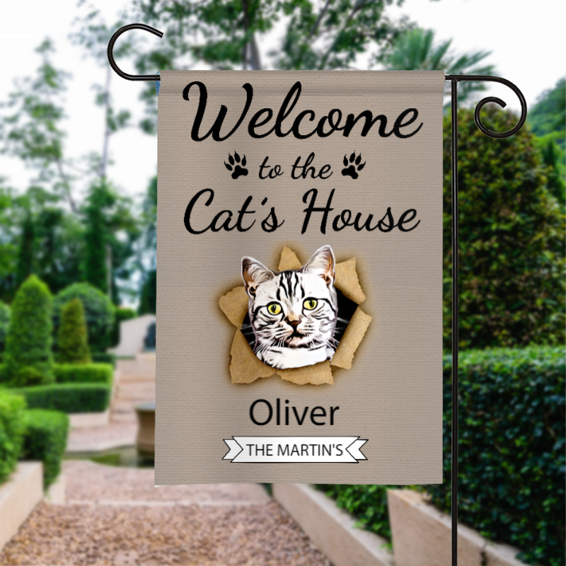 Custom Welcome To The Cats House Personalized Garden Flag