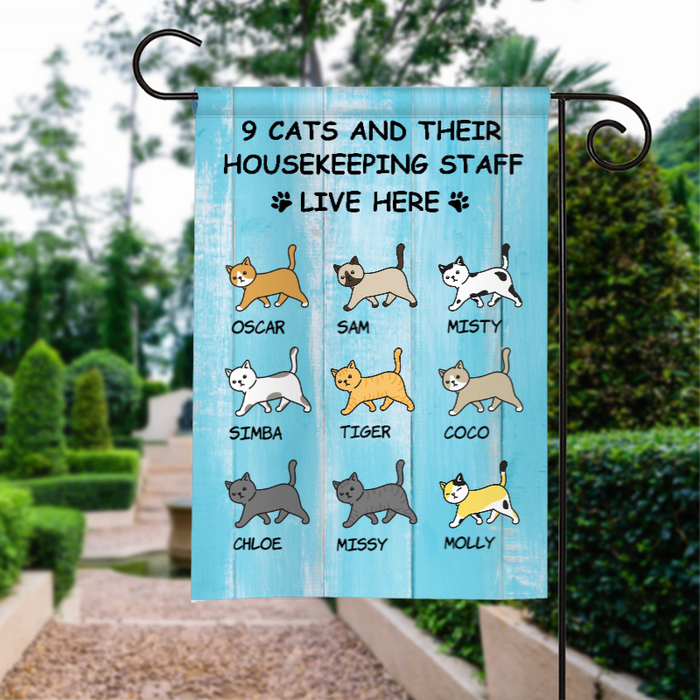 Custom Cats And Staff Live Here Personalized Garden Flag For Cat Lovers