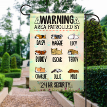 Load image into Gallery viewer, Custom Name Warning Area Patrolled By Dog 24h Security Personalized Garden Flag For Dog Lover, For Cat Lover