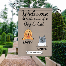 Load image into Gallery viewer, Custom Welcome To The Dog's House Cat's House Pet House Personalized Garden Flag