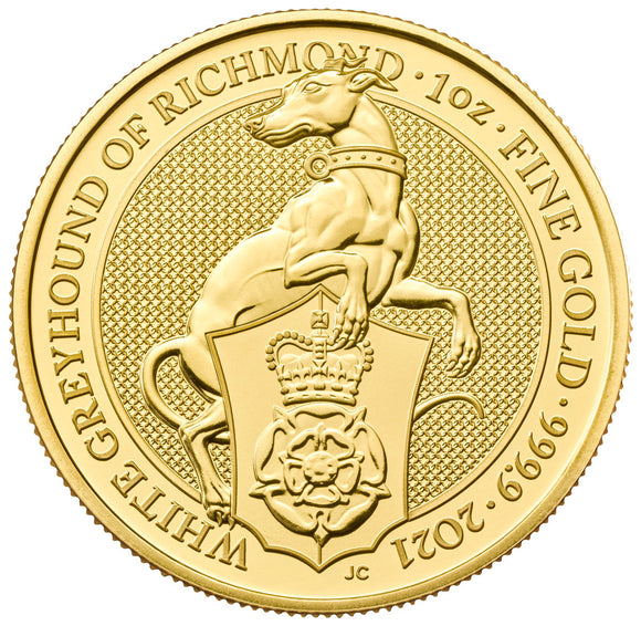 2021 1 OZ GOLD QUEENS BEAST WHITE GREYHOUND .9999 Fine Gold