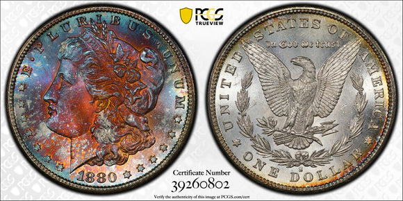 1880-S $1 Morgan Dollar PCGS MS67+ Rainbow Toned Super Gem!