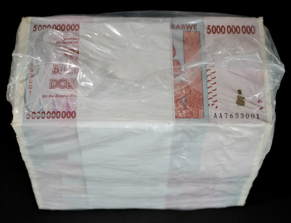 2008 Zimbabwe $5 Billion Dollar Brick 1000 Pcs New Great Brick Rare Notes
