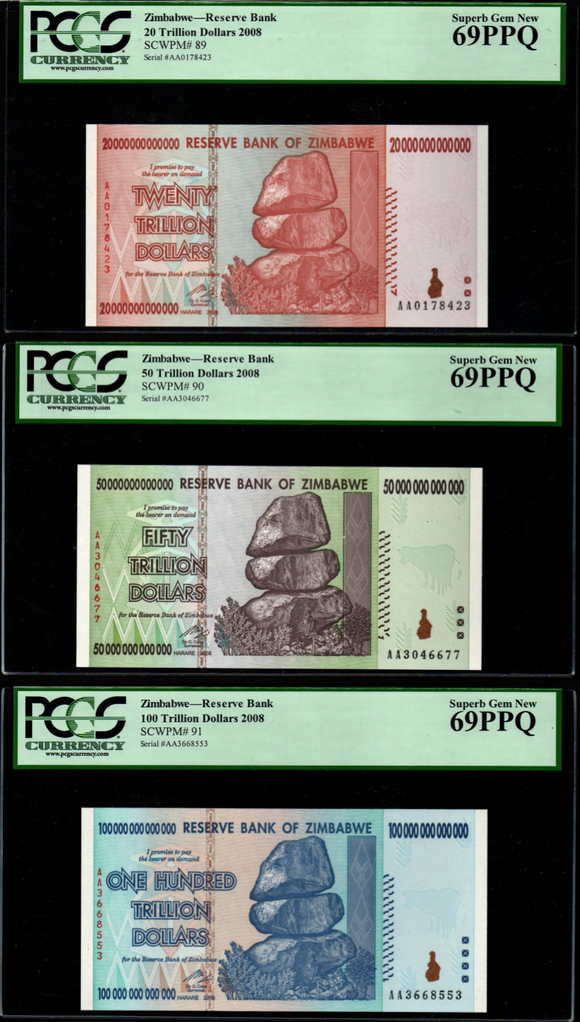 2008 AA ZIMBABWE 20-100 TRILLION DOLLARS SET, NEW, PCGS 69 PPQ