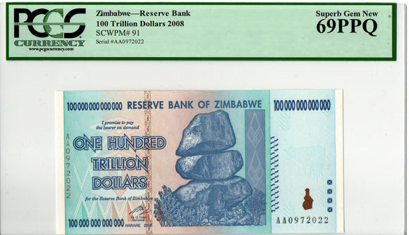 2008 AA ZIMBABWE 100 TRILLION DOLLARS, NEW, PCGS 69 PPQ