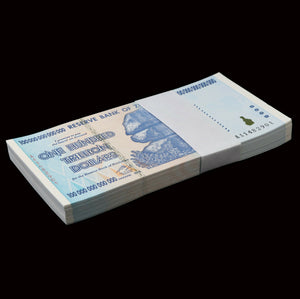 ZIMBABWE 100 TRILLION DOLLAR BANKNOTE, 2008, AA SERIES, NEW 100 Piece Pack/Bundle