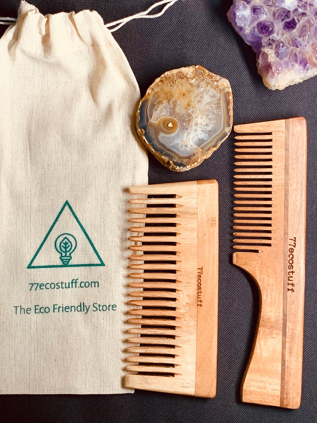 2 Eco-Friendly Neem Wood Combs
