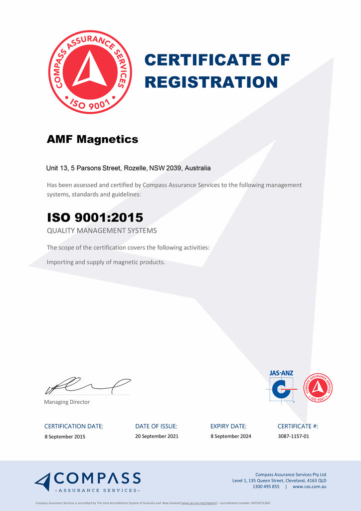 AMF Magnetics ISO Certified