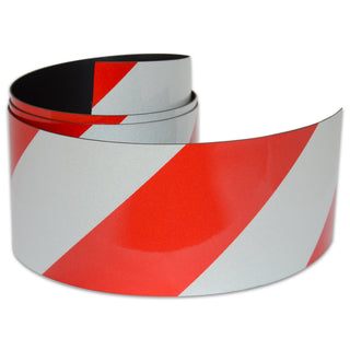 Reflective Magnetic Tape | Hi-Vis Red and White | 75mm x 0.8mm | PER METRE