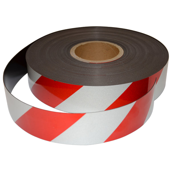 Reflective Magnetic Tape | Hi-Vis Red and White | 50mm x 0.8mm x 45m ROLL