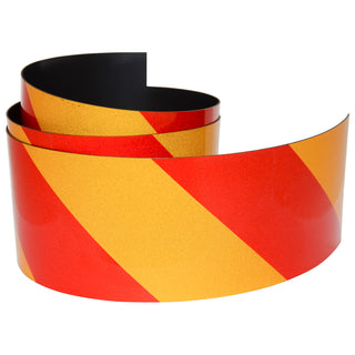 Reflective Magnetic Tape | Hi-Vis Red and Yellow | 75mm x 0.8mm | PER METRE