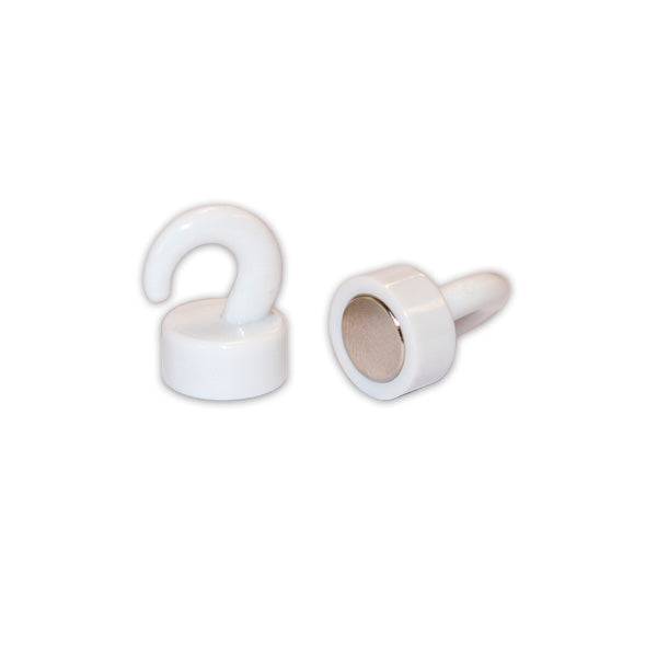 White Mini Hook Pin Magnet | 20mm x 12mm dia.