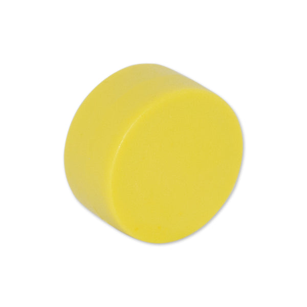 Neodymium Yellow Button Magnet - 12.7mm x 6.35mm | Thermoplastic Rubber (TPR) Coated