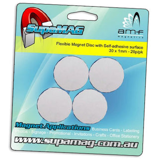 Round Disc Magnet with adhesive 30mm x 1mm | 20 per pack