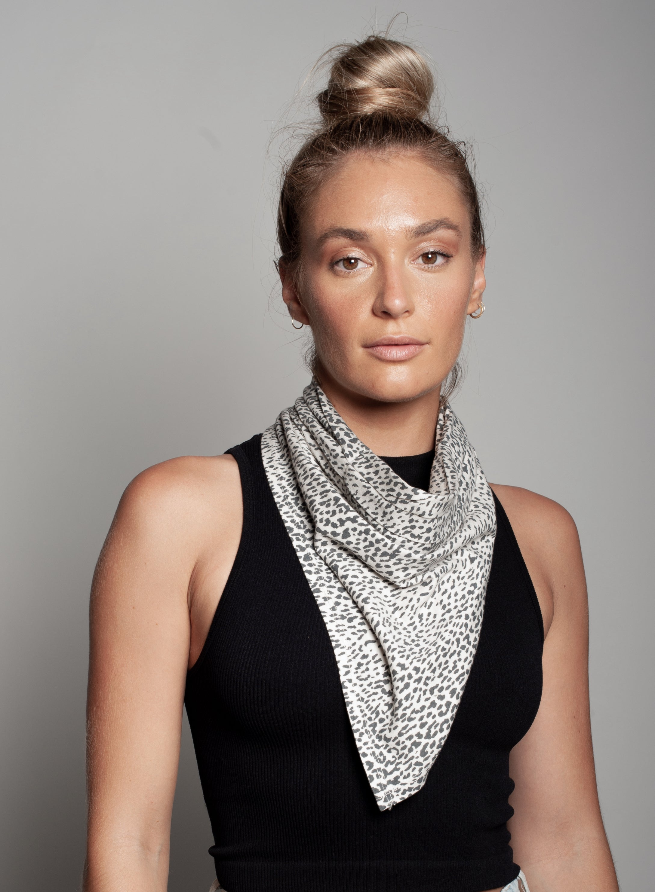 Small Leopard Print Neck Scarf Dual Purpose Face Covering