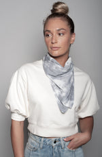Load image into Gallery viewer, Black Splatter Neck Scarf Dual Purpose Face Covering