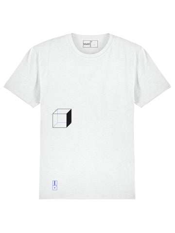 NEW! <br>O2, WHITE CUBE T-SHIRT<br>100% ORGANIC COTTON, UNISEX FIT<br>+ SUPER-RESISTANT CANVAS MaMI SHOPPER BAG.