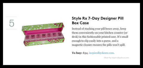 Style Rx designer pill box case featured in RealSimple.com as clever items to simplify life