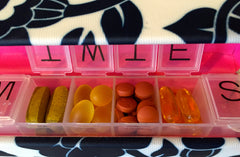 Style Rx designer pill box case keeps daily medication, vitamins, supplements and prenatals organized and secure.