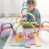 Grimm's - Large Pastel Rainbow Tunnel 12 pieces