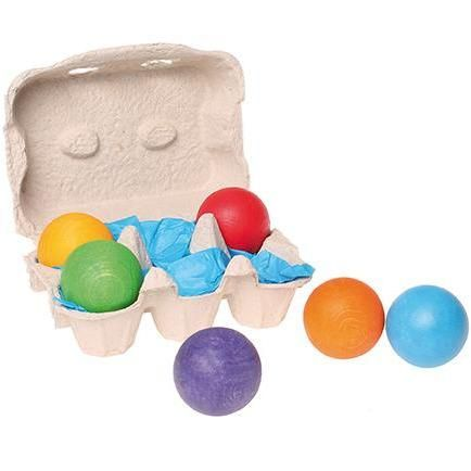 Grimm's - Wooden Rainbow Balls 6 pieces
